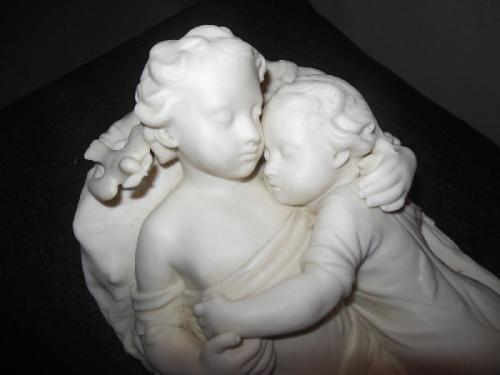 Parian Minton Figural Group of 2 children