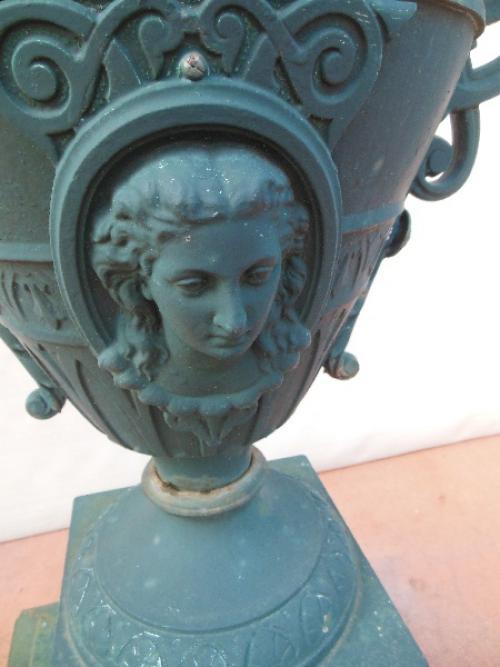 Garden Urn, Cast Iron, Sgnd Abendroth. SOLD