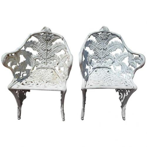 Cast Iron pr of Fern pattern chairs  SOLD