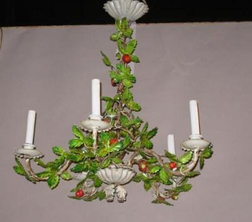 Italian Tole Strawberry Chandelier