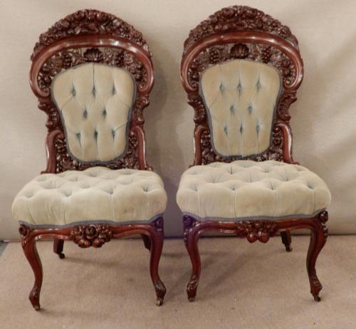 Belter Patent Chairs a pair.   SOLD