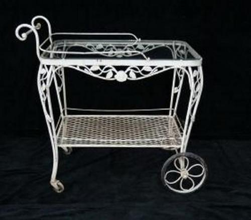 Woodard Chantilly Rose Tea Cart