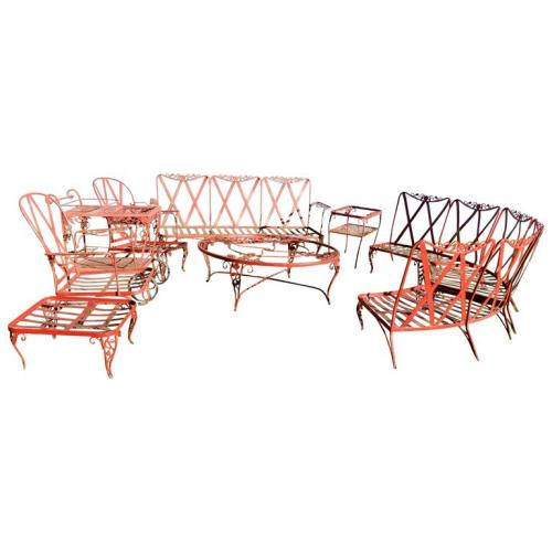 Woodard Vintage Chantilly Rose Patio Set 10 pieces
