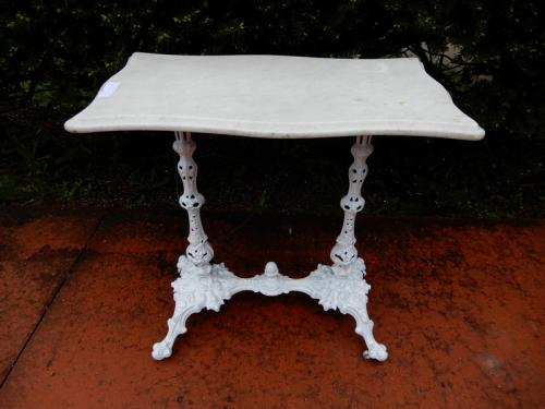 Cast Iron Victorian Marble top Garden table