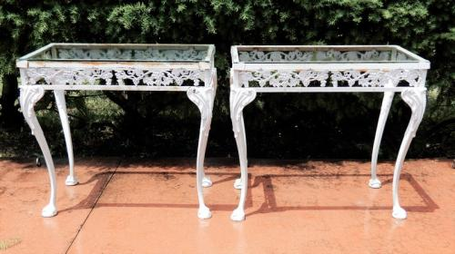 Console tables, rare pair by Molla