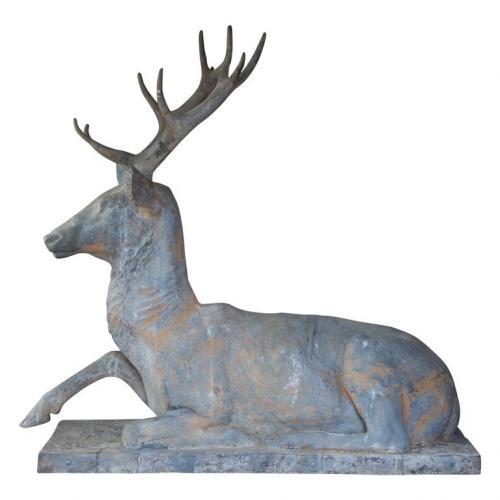 Fiske Zinc Reclining Deer  SOLD