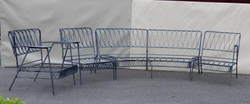 Salterini patio set in Ribbon Pattern.