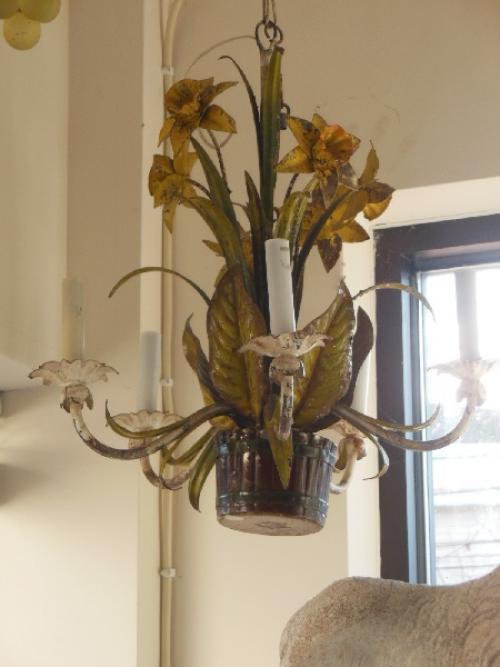 Italian Tole Chandeliers, Pineapple & Daffodil