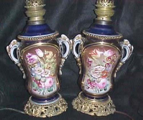 Pair of Old Paris Porcelain Oil Lamps    Sold