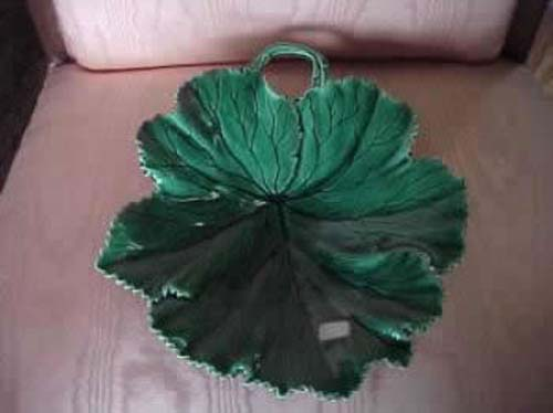 English Majolica Leaf Plate By Copeland
