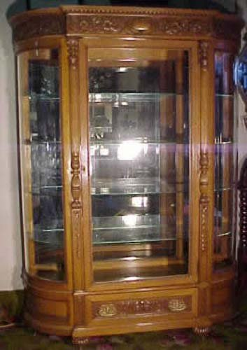 China:Oak Beveled & Rounded Glass Cabinet