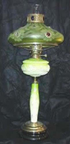 Victorian Vaseline Glass Kerosene Lamp SOLD