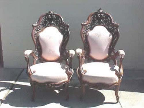 Pair of Laminated Rosewood Armchairs By Meeks