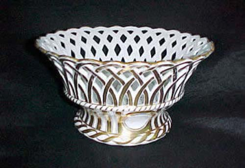 Old Paris Gold & White Pierced Basket