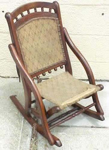 Eastlake Victorian Childs Folding Rocker