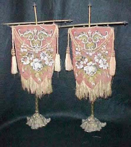 Pair of Berlin Work Candle screens.  SOLD