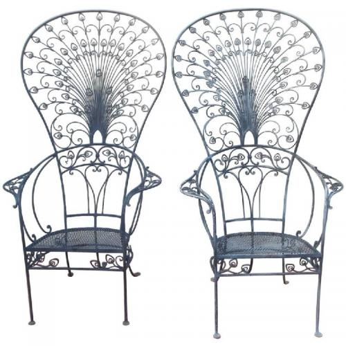 Chairs, Salterini Peacock Chairs.     SOLD