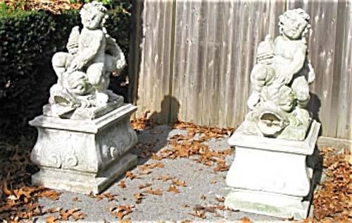 Pair of Cherub & Dolphin Garden Fountains