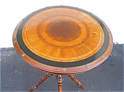 Victorian Hunzinger Rd Table W Brass Tacks SOLD