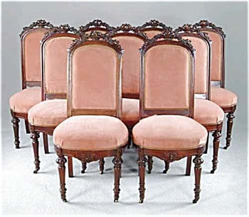 Victorian Walnut Fruit Carved Chairs