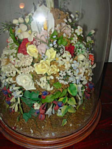 Dome,Victorian Wax Flowers.   SOLD