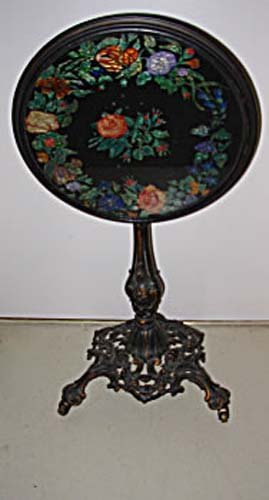 Table: Victorian Cast Iron Base Glass Top