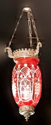 Cranberry cut to clear Sandwich hall lantern