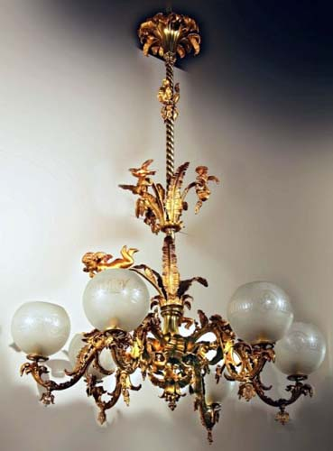 Chandelier, Gas Rococo 7ft tall