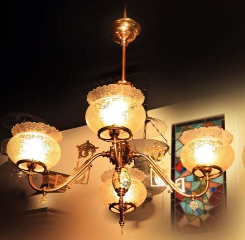 Aesthetic Movement Satsuma. Gas chandelier Sold